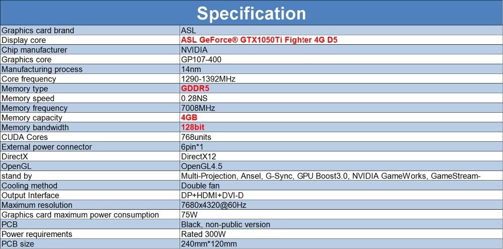 ASL GeForce® GTX 1050Ti Fighter 4G D5_