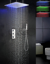 Temperature Sensitive 3 Colors LED Shower Faucet Set 20 Inch Bathroom  Swash And Rainfall Shower Head Thermostatic Faucet Valve
