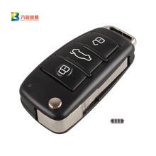 3 Button Folding Flip Remote Key Shell Case Fob For Audi A2 A3 A4 A6 A6L A8 TT with logo