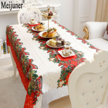 Meijuner Hot Sale 2018 Christmas Decorations Rectangular Tablecloth Prints Creative Christmas Restaurant Tablecloths(China)