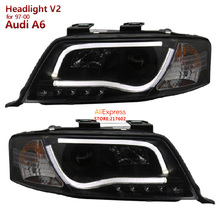 for Audi A6 97-00 Projector Headlights -Halogen Model Only (not compatible with Xenon/HID Model ) - DRL - Black-High H1(China)