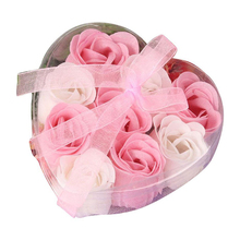 9Pcs Scented Rose Flower Petal Bath Body Soap Wedding Party Gift(China)