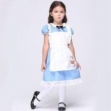 Alicia en el país de las Maravillas Niñas vestido partido Cosplay traje Maid  uniforme dulce princesa Lolita vestido disfraces de. f8355e42f030
