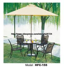 Strong Iron Structure Rattan Outdoor Garden Furniture Leisure Bar Balcony Courtyard 4 Chairs Table Set Wicker Rattan Furniture(China)