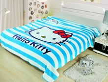 Hello Kitty Striped Printed Blankets Throw Bedding 150*200CM Size Baby Kid Girls Children's Bed Home Bedroom Decoration Flannel