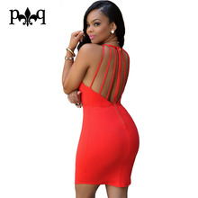 Women Sexy Dress Summer Sleeveless Halter Dress Night Club Wear Bodycon Bandage Backless Party Dresses Blue Red Vestidos Mujer