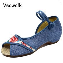 Open Peep Toe Women Denim Cotton Embroidered Sandals Ladies Casual Linen Insoles Comfort Summer Shoes Sandials Mujer