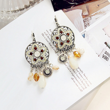 High quality crystal exaggerated personality long earrings retro temperament fringed Bohemia fashion accessories lovers gift(China)
