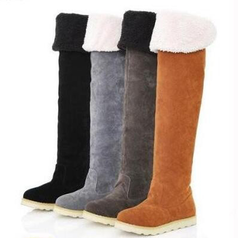 2017 Womens Winter Boots Winter Shoes Folding Over Knee Boots Snowshoes Fashion Round toe Female Footwear Women boots size35-40<br><br>Aliexpress