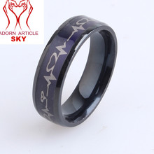 Stainless Steel Black IP with Heartbeat Laser Etched Band Ring