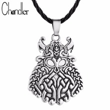 Chandler Hot Pewter God Odin Face Pendant Necklace Viking Warrior Charm Norse Asatru Rune Jewelry Faith Enthic Male Female Gifts(China)