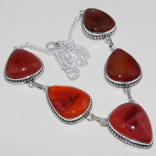Carnelian  Necklace  Silver Overlay over Copper , 47.1 cm, N0746