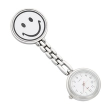 Nurses Lapel Watch Clip-on Smiley Face White Pendant Pocket Quartz Red Cross Brooch Nurses Watch Hanging Medical Pocket Watch