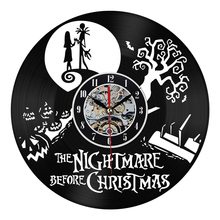 The Nightmare Before Christmas Black Vinyl Record Clock Creative CD Wall Clock Antique Home Decoration Horloge Murale(China)
