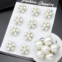 OneckOha Fashion Simulated Pearl Flower Brooch Pin Small Brooch Garment Accessories Wedding Bridal Brooch Pin 1Set In 12 Pcs(China)