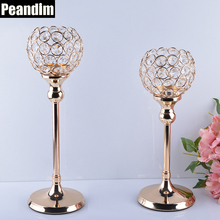 PEANDIM Wedding Candelabra Centerpieces Center Table Candlesticks Parties Decor K9 Crystal Candle Lantern Gold Candle Holders(China)