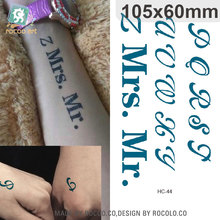 HC-44 New Waterproof Fake Tattoo Stickers Lovers Mrs Mr Letter Pattern Design Water Transfer Flash Temporary Tattoos Sticker