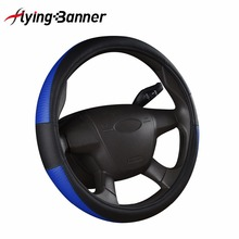 Flying Banner New Sport PU Leather Steering Wheel Cover 3 Colors Car Covers Fit Most Car Styling Factory Wholesale High Quality(China)