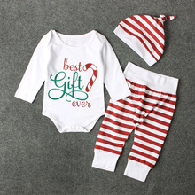 2017 Tiny Cotton Newborn Boy Girl Clothes Toddler Baby Clothing Sets Christmas Best Gift EVE Bodysuit Pants Hat 3pcs Baby Onesie