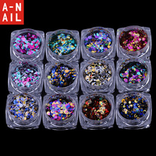12jars/set Laser 12 colors  Nail Art Glitter ROUND Shapes Confetti Sequins Acrylic Tips UV Gel nail decorations BL Style