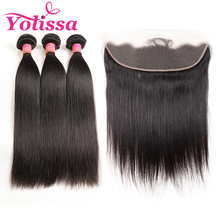 Yolissa Hair Brazilian Straight Hair Bundles 3Pcs 13x4 Pre-Plucked with Baby Hair Frontal With Bundles Remy Human Hair Weave(China)