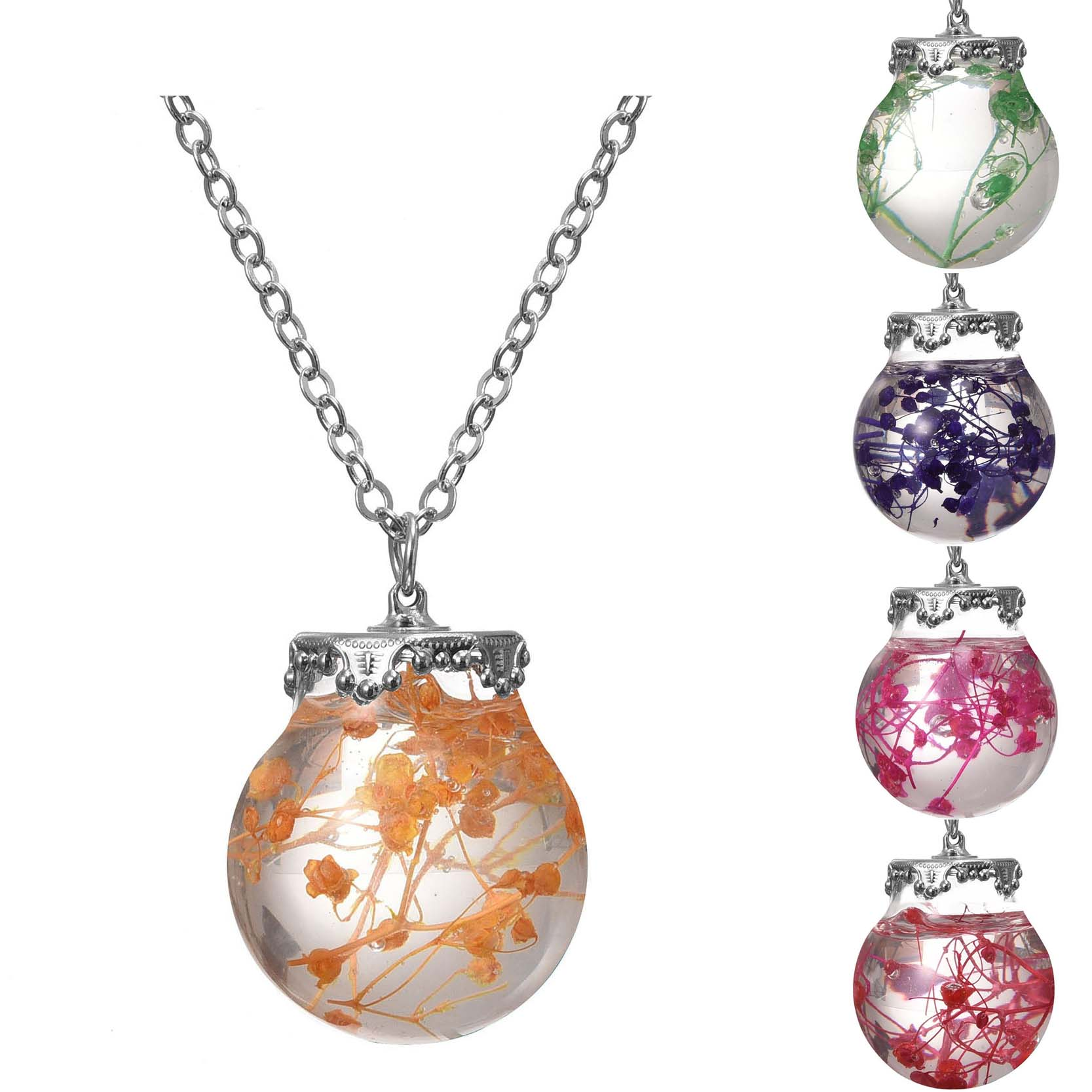 2017 Jewelry Necklace Silver Plated with Glass Bottle Sea Ocean Life Dried Flower Choker Long Pendant Necklace for Women(China)