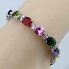 925 Sterling Silver Colorful Multi-Colorful Gems Bracelet Health Fashion Jewelry For Women Free Jewelry Box SL120(China)
