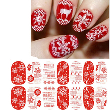 6sheets/lot Water Transfer Foil Nail Stickers Art Merry Christmas Fantacy Lights Halo Stars Nail Wraps Sticker Manicure Decals(China)