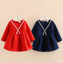 Baby girl dress 2017 autumn and winter Cute Baby Girl Dress children Navy dresses thickened girl clothing 3-12 years old(China)