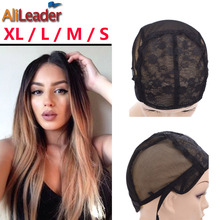 XL/L/M/S Adjustable Weaving Cap For Wig Making, Double Layer Lace Wig Caps For Sale, Black Hairnet Nylon Wig Cap 10 Pcs/Lot(China)