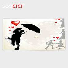 Custom Microfiber Ultra Soft Bath/hand Towel,Wedding Decorations Couple in Love Umbrella Red Hearts Daisies Romance in the Air