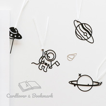 space planet Universe UFO astronaut bookmark cute kawaii black bookmarks for kids student school gift stationery wholesale