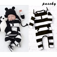 2017 Hot Newborn Baby Girl Boy Kids Romper Black White Stripe Jumpsuit Playsuit Outfit Clothes 0-2T