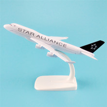 16cm Metal Alloy Plane Model Air Star Alliance Airlines B747 Airways Aircraft Boeing 747 400 Airplane Model w Stand Gift(China)
