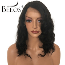 BEEOS Short Full Lace Human Hair Wigs Pre Plucked Body Wave Brazilian Non Remy Hair Lace Wigs For Women Bleached Knots(China)
