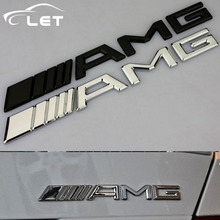 High quality 3D car styling metal Aluminum-look Emblem Car 3D Chrome Finish AMG Badge Sticker Interior Exterior Use For Benz