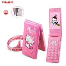 KUH D10 Flip GPRS Breath Light touch screen Cell Phone women girl MP3 MP4 cartoon hello kitty mobile phone Dual SIM Card(China)