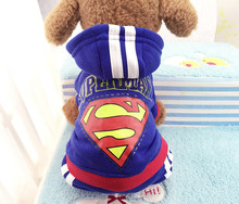 2016 hotsale 4 legs Dog clothes,pets coats,puppy dog hoodie Superman /Bat winter clothes sweater costumes size XS -XXL 9 colors(China)