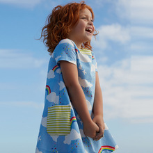 summer rainbow cloud print kids dress cotton cartoon baby girls dresses European fashion children clothes