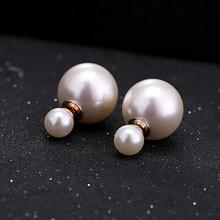cheap wholesale 2016 Fashion Jewelry Women Pearl Earrings Double Sided Ball Simulated Pearl Stud Earrings For Women Girl