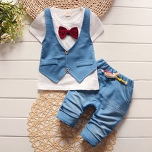 BibiCola 2017 Summer spring Cotton Baby Boys Clothing Sets Children vest fake two jacket tops+ Shorts Kids formal Clothes Suits(China)