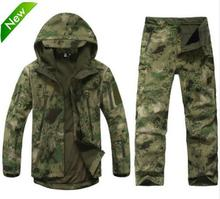 TAD Tactical Gear Soft Shell Camouflage Outdoors Jacket Set Men Army Casual Waterproof Hunter Warm Clothes Military Hike Jacket(China)