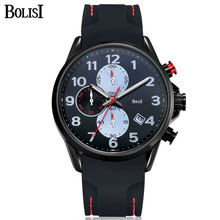 BOLISI New Brand Quartz Watches Men Top Quality Chronograph Functions Watch Original Style Life Waterproof Silicone Casual Clock