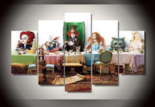 5piece Modular pictures Alice in wonderland HD Print Fabric Printing Group Painting rooms decorated poster image printed fabric