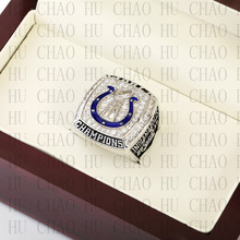 Team Logo wooden case 2006 Indianapolis Colts Super Bowl Championship Ring 10-13 size solid back(China)
