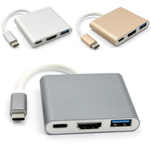 New Type C USB 3.1 to USB-C 4K HDMI USB3.0 Adapter 3 in 1 Hub For Apple Macbook Type-C to HDMI