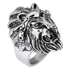 High Quality Lion Head Finger Ring For Men Fashion Punk Style Male Ring Jewelry 2017 Size 7-10