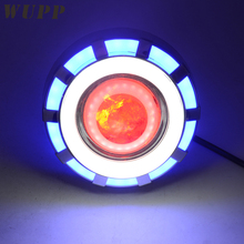 WUPP Motorcycle Projector Lens Light Double Angel Devil Eye Headlight With Pink/ Blue/ Red Angel Eye Rings 30W 1200Lm 200000H(China)