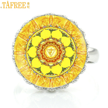 TAFREE fashion beautiful flower of life mandala crown rings for women charms Sacred Geometry buddhism zen jewelry ring gift HT56(China)