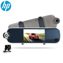 HP f770 rearview mirror driving recorder high-definition night vision dual lens wide-angle reversing image Car DVR